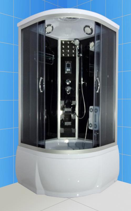 Elba 90x46 ТН Тонированное стекло/профиль матовый хромДушевые кабины<br>Душевая кабина River Elba 90x46 ТН. Задняя стенка - черное крашеное стекло. Верхний душ, цент.стойка, верхний свет, динамик, вентилятор, сенсорный пульт управления, радио, телефон, 8 г/м форсунок, штанга, ручной душ 3-х режимный, смеситель с переключателем режимов, зеркало, полочка, гидромассаж ног, поддон высотой 46 см, сифон.<br>