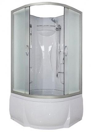 Rein Б/К 90х46 MT Матовое стекло/профиль матовый  хромДушевые кабины<br>Душевая кабина River Rein Б/К 90х46 MT без крыши. Задняя стенка - белый целиковый акрил с сидением. Штанга, ручной душ 3-х позиционный, смеситель, зеркало, полочки (2 шт.), сиденье, поддон низкий со съемным экраном высотой 46 см, сифон.<br>