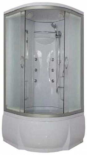Rein ФС 90х46 МТ Матовое стекло/профиль матовый хромДушевые кабины<br>Душевая кабина River Rein ФС 90х46 МТ с гидромассажем. Задняя стенка - белый целиковый акрил. Верхний душ, штанга, ручной душ 3-х позиционный, 6 г/м форсунок, вентиляционные отверстия (2 шт.), смеситель с переключением режимов, зеркало, полочки (2 шт.), сиденье, поддон  со съемным экраном высотой 46 см, сифон.<br>
