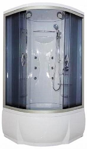 Rein ФС 90х46 ТН  Тонированное стекло/профиль матовый хромДушевые кабины<br>Душева кабина River Rein ФС 90х46 ТН с гидромассажем. Задн стенка - белый целиковый акрил. Верхний душ, штанга, ручной душ 3-х позиционный, 6 г/м форсунок, вентилционные отверсти (2 шт.), смеситель с переклчением режимов, зеркало, полочки (2 шт.), сиденье, поддон  со съемным краном высотой 46 см, сифон.<br>