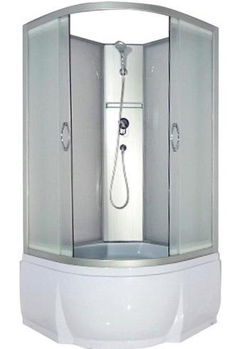 Nara Б/К 90x46 МТ Матовое стекло/профиль матовый хромДушевые кабины<br>Душевая кабина River Nara Б/К Б/К 90x46 МТ без крыши. Задняя стенка - матовое стекло. Центральная стойка, ручной душ 3-х позиционный,  держатель для лейки, смеситель, полочка, сидение, поддон  со съемным экраном высотой 46 см, сифон.<br>