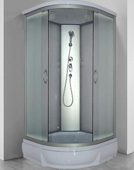 Nara 90х26 МТ Матовое стекло/профиль матовый хромДушевые кабины<br>Душевая кабина River Nara 90х26 МТ.  Задняя стенка - матовое стекло. Верхний душ, центральная стойка, ручной душ 3-х позиционный,  держатель для лейки, смеситель с переключателем режимов, откидное сидение, полочка, поддон  со съемным экраном высотой 26 см, сифон.<br>