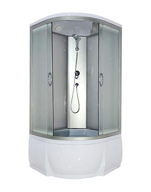 Nara 100x46 МТ Матовое стекло/профиль матовый хромДушевые кабины<br>Душевая кабина River Nara 100x46 МТ.  Задняя стенка - матовое стекло. Верхний душ, центральная стойка, ручной душ 3-х позиционный,  держатель для лейки, смеситель с переключателем режимов, откидное сидение, полочка, поддон  со съемным экраном высотой 46 см, сифон.<br>