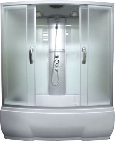 Nara 150x80x50 МТ  Матовое стекло/профиль матовый хромДушевые боксы<br>Душевая кабина River Nara 150x80x50 МТ.  Задняя стенка - матовое стекло. Верхний душ, центральная стойка, ручной душ 3-х позиционный,  держатель для лейки, смеситель с переключателем режимов, сидение, полочка, поддон  со съемным экраном высотой 50 см, сифон.<br>