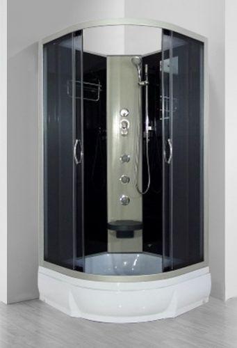 Desna Б/К 90х26 ТН Тонированное стекло/профиль матовый хромДушевые кабины<br>Душевая кабина River Desna Б/К 90х26 ТН без крыши. Задняя стенка - черное крашеное стекло. Центральная стойка, штанга, ручной душ 3-х позиционный, 3 г/м форсунки, смеситель, полочка, зеркало, откидное сидение, поддон  со съемным экраном высотой 26 см, сифон.<br>