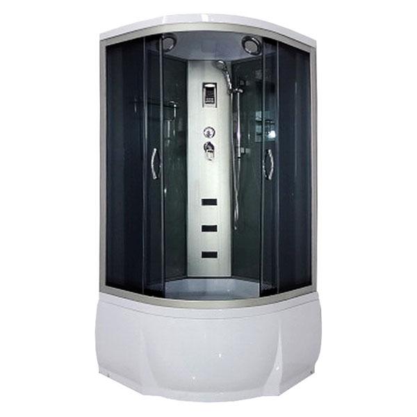 Desna 80х43 ТН Тонированное стекло/профиль матовый хромДушевые кабины<br>Душевая кабина River Desna  80х43 ТН. Задняя стенка - черное крашеное стекло. Верхний душ, вентиляционные отверстия, центральная стойка, штанга, ручной душ 3-х позиционный, 3 г/м форсунки, смеситель, полочка, зеркало, откидное сидение, поддон  со съемным экраном высотой 43 см, сифон.<br>