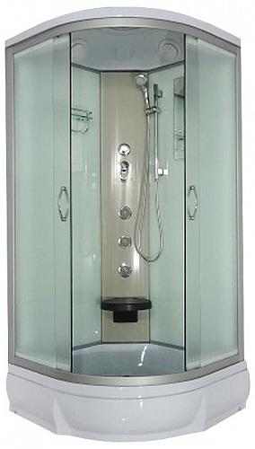Desna 100х26 МТ Матовое стекло/профиль матовый хромДушевые кабины<br>Душевая кабина River Desna 100х26 МТ. Задняя стенка - матовое крашеное стекло. Верхний душ, вентиляционные отверстия, центральная стойка, штанга, ручной душ 3-х позиционный, 3 г/м форсунки, смеситель, полочка, зеркало, откидное сидение, поддон  со съемным экраном высотой 26 см, сифон.<br>