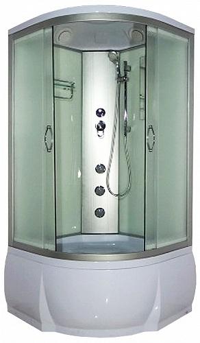 Desna 100х46 МТ Матовое стекло/профиль матовый хромДушевые кабины<br>Душевая кабина River Desna 100х46 МТ. Задняя стенка - матовое крашеное стекло. Верхний душ, вентиляционные отверстия, центральная стойка, штанга, ручной душ 3-х позиционный, 3 г/м форсунки, смеситель, полочка, зеркало, откидное сидение, поддон  со съемным экраном высотой 46 см, сифон.<br>