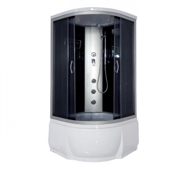 Desna 100х46 ТН Тонированное стекло/профиль матовый хромДушевые кабины<br>Душевая кабина River Desna 100х46 ТН. Задняя стенка - черное крашеное стекло. Верхний душ, вентиляционные отверстия, центральная стойка, штанга, ручной душ 3-х позиционный, 3 г/м форсунки, смеситель, полочка, зеркало, откидное сидение, поддон  со съемным экраном высотой 46 см, сифон.<br>