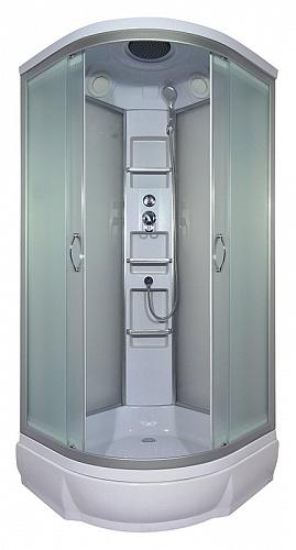 Amur 90х26 МТ Матовое стекло/профиль матовый хромДушевые кабины<br>Душевая кабина River Amur  90х26 МТ. Задняя стенка - матовое стекло. Верхний душ, центральная стойка, держатель для лейки, ручной душ 3-х позиционный, смеситель, полочка - 3 шт., поддон со съемным экраном высотой 26 см.<br>