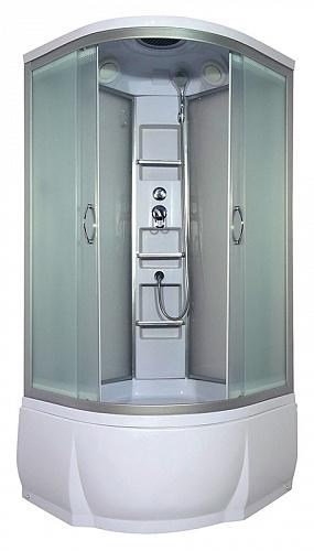 Amur 90х46 МТ Матовое стекло/профиль матовый хромДушевые кабины<br>Душева кабина River Amur 90х46 МТ. Задн стенка - матовое стекло. Верхний душ, центральна стойка, держатель дл лейки, ручной душ 3-х позиционный, смеситель, полочка - 3 шт., поддон со съемным краном высотой 46 см.<br>