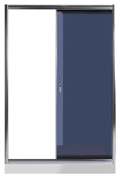 Bering 130 ТН Тонированное стекло/профиль хромированныйДушевые ограждения<br>Дверь для душа 2-х секционная River Bering 130 ТН. Одна часть неподвижная, вторая раздвижная. Вход можно установить как слева, так и cправа. Боковые регулировочные профили позволяют регулировать ширины двери ± 2 см от размера и компенсируют небольшие отклонения стены от вертикали. Cтекло 5 мм.<br>