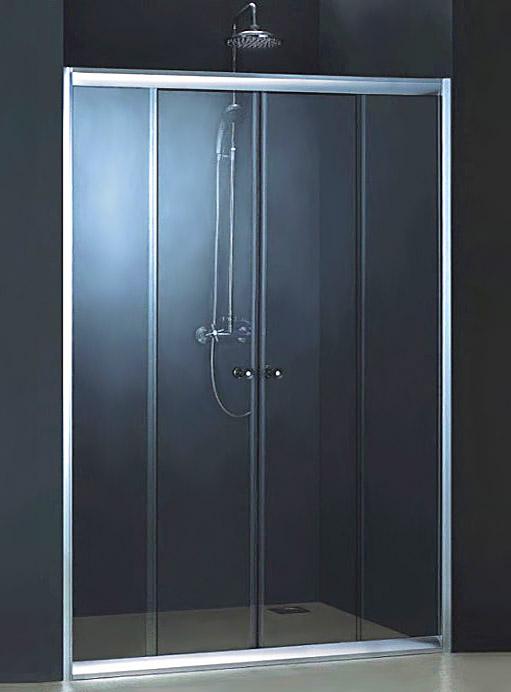 Dreike 150 ТН Тонированное стекло/профиль матовый  хромДушевые ограждения<br>Дверь для душа 4-х секционная River Dreike 150 ТН раздвижная (боковые секции - неподвижные, центральные секции - раздвижные). Укомплектована саморегулирующимися роликами. Возможна регулировка ширины двери + 2 см от размера за счет регулировочных боковых профилей.<br>