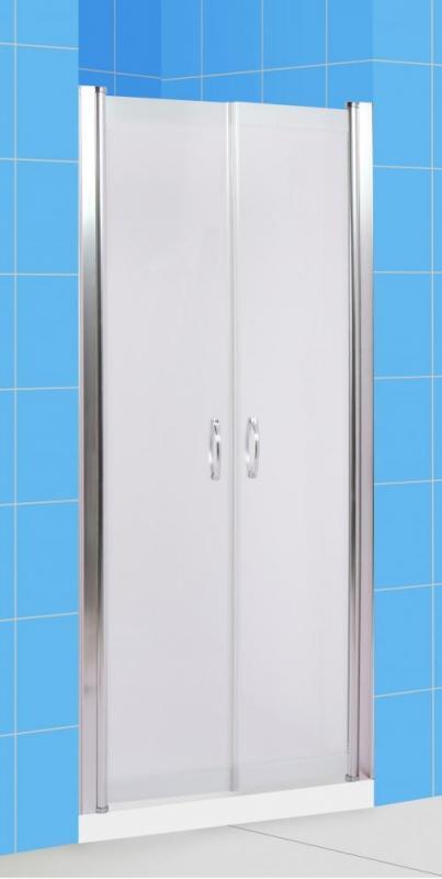 Suez 90 МТ Матовое стекло/профиль хромированныйДушевые ограждения<br>Дверь для душа распашная 2-х створчатая River Suez 90 МТ  (открывается внутрь и наружу с фиксацией). Возможна регулировка ширины двери + 2 см от размера за счет боковых регулировочных профилей. Cтекло 5 мм.<br>