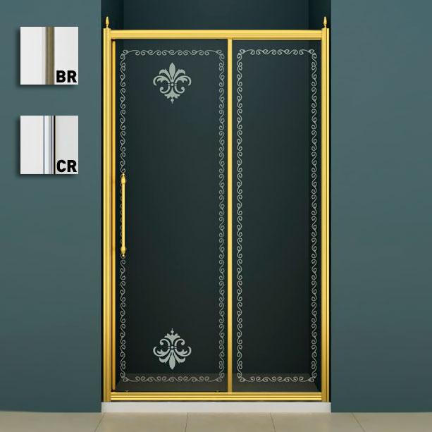 Retro BF-1-130 CP-BR (прозрачное стекло, бронза)Душевые ограждения<br>Душевая раздвижная дверь в проем Cezares Retro BF-1-130-CP-BR. Размеры с регулировками: (1290-1310)x1950 мм. Стекло: 8 мм, прозрачное c матовым узором. Исполнение металлических элементов: бронза. Подходит для поддонов A или AH (приобретаются отдельно).<br>