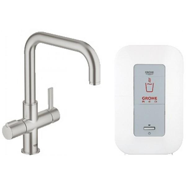 Red 30145000 ХромСмесители<br>Смеситель для кухни с функцией кипячения воды Grohe Red 30145000. 2 вида струи - кипящая вода/обычная водопроводная вода. Напряжение подключения 230 V 50 Hz 30 VA, потребляемая мощность 2100 Вт, потребляемая мощность в режиме ожидания 15 Вт, рычаг регулирует подачу кипяченой воды, поворотная ручка регулирует подачу фильтрованной воды, бойлер single резервуар для 3 л кипящей воды.<br>