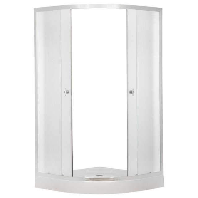 ER0608-C3 Матовый хром/матовое стеклоДушевые ограждения<br>Душевой уголок Erlit ER0608-C3 в комплекте с низким поддоном высотой 150 мм. Поддон укрепленный, регулируемый со съемным экраном. Без крыши, задней стенки нет, центральной стойки нет. Конструкция дверей - раздвижные.<br>