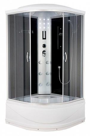 ER4508TP-C4 задняя стенка черная / дверцы тонированныеДушевые кабины<br>Душевая кабина Erlit ER4508TP-C4 с гидромассажем, поддоном высотой 42 см и крышей. Задняя стенка из стекла. Центральная стойка из пластика. Тропический душ, ручной душ, 6 форсунок для гидромассажа спины, верхний свет, лунный свет, сенсорный пульт, FM-радио, подключение к телефонной линии, вентилятор, зеркало, полочка.<br>
