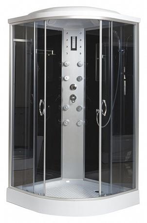 ER4509P-C4 задняя стенка черная / дверцы тонированныеДушевые кабины<br>Душевая кабина Erlit ER4509P-C3 с гидромассажем, низким поддоном высотой 15 см и крышей. Задняя стенка из стекла. Центральная стойка из пластика. Тропический душ, ручной душ, 8 форсунок для гидромассажа спины, верхний свет, лунный свет, сенсорный пульт, FM-радио, подключение к телефонной линии, вентилятор, зеркало, полочка.<br>