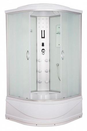 ER4509TP-C3 задняя стенка белая / дверцы матовыеДушевые кабины<br>Душевая кабина Erlit ER4509TP-C3 с гидромассажем, поддоном высотой 42 см и крышей. Задняя стенка из стекла. Центральная стойка из пластика. Тропический душ, ручной душ, 6 форсунок для гидромассажа спины, верхний свет, лунный свет, сенсорный пульт, FM-радио, подключение к телефонной линии, вентилятор, зеркало, полочка.<br>