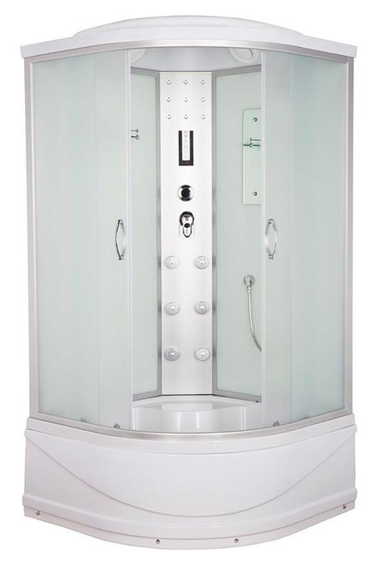 ER4510TP-C3 задняя стенка белая / дверцы матовыеДушевые кабины<br>Душевая кабина Erlit ER4510TP-C3 с гидромассажем, высоким поддоном высотой 420 мм и крышей. Задняя стенка стекло, центральная стойка пластик. Тропический душ, ручной душ, гидромассаж спины (кол-во форсунок 6 шт), верхний свет, лунный свет, сенсорный пульт, FM- радио, подключение к телефонной линии, вентилятор, зеркало, полочка.<br>