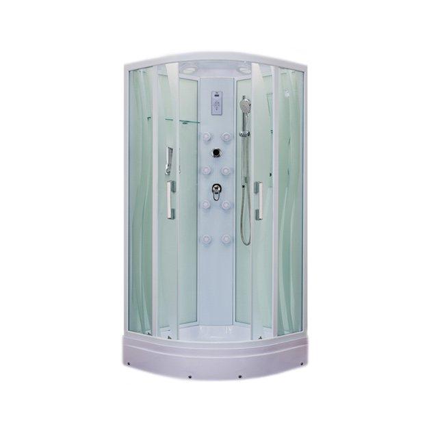 ER5510P-S2 С рисунком ВолнаДушевые кабины<br>Душевая кабина  Erlit ER5510P-S2 с гидромассажем. Поддон высотой 210 мм. Задняя стенка стекло. Центральная стойка пластик. Тропический душ, ручной душ с регулировкой высоты, гидромассаж спины (кол-во форсунок 6 шт), верхний свет, сенсорный пульт, FM- радио, Bluetooth, подключение к телефонной линии, вентилятор, зеркало, полочка, дозатор для жидкого мыла, крючок-вешалка.<br>