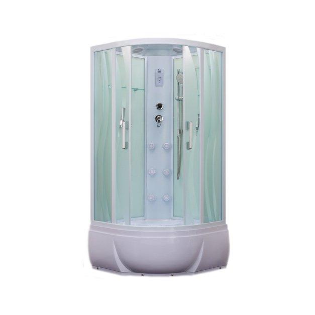 ER5510TP-S2 С рисунком ВолнаДушевые кабины<br>Душевая кабина  Erlit ER5510P-S3 с гидромассажем. Поддон высотой 420 мм. Задняя стенка стекло. Центральная стойка пластик. Тропический душ, ручной душ с регулировкой высоты, гидромассаж спины (кол-во форсунок 6 шт), верхний свет, сенсорный пульт, FM- радио, Bluetooth, подключение к телефонной линии, вентилятор, зеркало, полочка, дозатор для жидкого мыла, крючок-вешалка.<br>