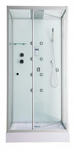 ER MIA100W-1 Хром/стекло прозрачноеДушевые кабины<br>Душевая кабина Erlit ER MIA100W-1 с гидромассажем. Стеклянная крыша. Задняя стенка стекло. Центральной стойки нет. Тропический душ, ручной душ, гидромассаж спины (кол-во трехрежимных форсунок 8 шт), хромотерапия, светодиодная подсветка крыши, датчик авт. вкл./выкл. света, сенсорный пульт, FM- радио, Bluetooth, подключение к телефонной линии,система озонирования,  вентилятор, полочка, крючок-вешалка, двери открываются внутрь, ширина дверного проема - 83 см.<br>