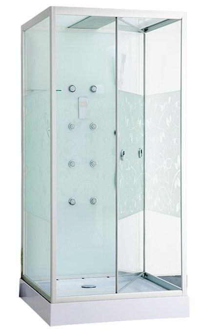 Душевая кабина Erlit ER MIA100W-2 Хром/стекло с рисунком цветы ERMIA100W-2