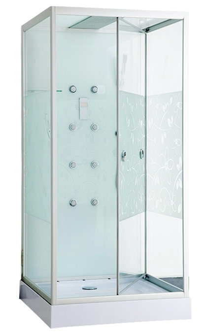 Душевая кабина Erlit ER MIA100W-2 Хром/стекло с рисунком цветы