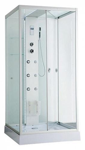 ER NYC100W-1 Хром / стекло прозрачноеДушевые кабины<br>Душева кабина Erlit ER NYC100W-1 с гидромассажем. Низкий поддон высотой 15 см. Стеклнна крыша. Задн стенка из стекла. Центральна стойка из алмини. Тропический душ, ручной душ, 6 трехрежимных форсунок дл гидромассажа спины, хромотерапи, светодиодна подсветка стойки и крыши, датчик автоматического вкл./выкл. света, сенсорный пульт, FM-радио, Bluetooth, подклчение к телефонной линии, система озонировани, вентилтор, полочка, крчок-вешалка, сиденье на усиленном каркасе, двери открыватс внутрь, ширина дверного проема – 95 см.<br>