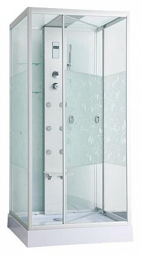 ER NYC100W-2 хром / стекло с рисунком цветыДушевые кабины<br>Душевая кабина Erlit ER NYC100W-2 с гидромассажем. Низкий поддон высотой 150 мм. Стеклянная крыша. Задняя стенка стекло. Центральная стойка алюминий. Тропический душ, ручной душ, гидромассаж спины (кол-во трехрежимных форсунок 6 шт), хромотерапия, светодиодная подсветка стойки и крыши, датчик авт. вкл./выкл света, сенсорный пульт, FM- радио, Bluetooth, подключение к телефонной линии, система озонирования, вентилятор, полочка, крючок-вешалка, сиденье на усиленном каркасе,  двери открываются внутрь, ширина дверного проема - 95 см.<br>