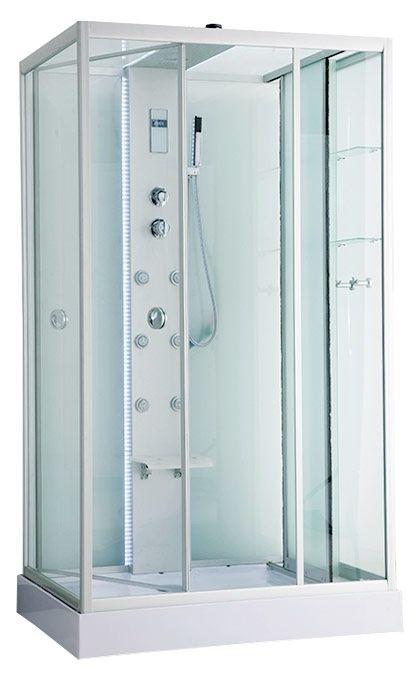 ER NYC120RW-1 R хром / стекло прозрачноеДушевые кабины<br>Душевая кабина Erlit ER NYC120RW-1 с гидромассажем. Стеклянный шкаф-купе справа. Низкий поддон высотой 15 см. Стеклянная крыша. Задняя стенка из стекла. Центральная стойка из алюминия. Тропический душ, ручной душ, 6 трехрежимных форсунок для гидромассажа спины, хромотерапия, светодиодная подсветка стойки и крыши, датчик автоматического вкл./выкл. света, сенсорный пульт, FM-радио, Bluetooth, подключение к телефонной линии, система озонирования, вентилятор, полочка, крючок-вешалка, сиденье на усиленном каркасе, двери открываются внутрь, ширина дверного проема – 95 см.<br>