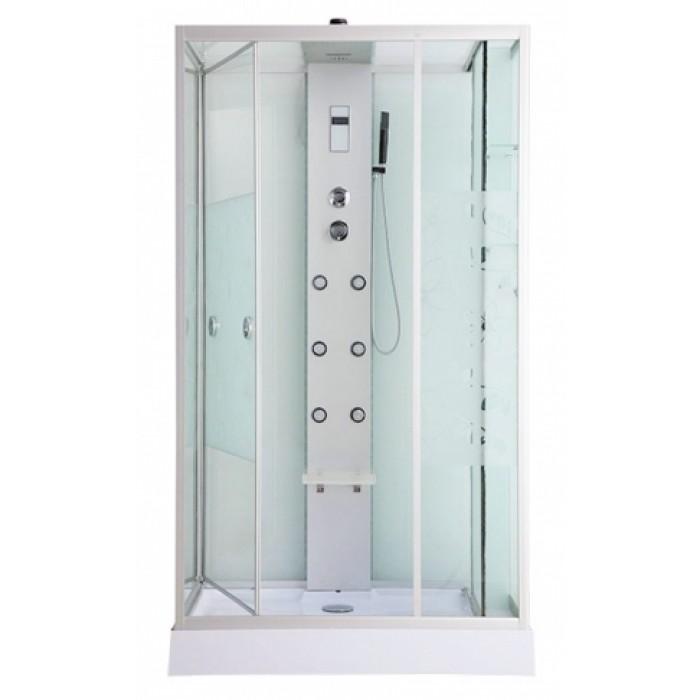 ER NYC120RW-2 L хром / стекло с рисунком цветыДушевые кабины<br>Душевая кабина Erlit ER NYC120LW-2 с гидромассажем. Стеклянный шкаф-купе слева. Низкий поддон высотой 15 см. Стеклянная крыша. Задняя стенка из стекла. Центральная стойка из алюминия. Тропический душ, ручной душ, 6 трехрежимных форсунок для гидромассажа спины, хромотерапия, светодиодная подсветка стойки и крыши, датчик автоматического вкл./выкл. света, сенсорный пульт, FM-радио, Bluetooth, подключение к телефонной линии, система озонирования, вентилятор, полочка, крючок-вешалка, сиденье на усиленном каркасе, двери открываются внутрь, ширина дверного проема – 95 см.<br>