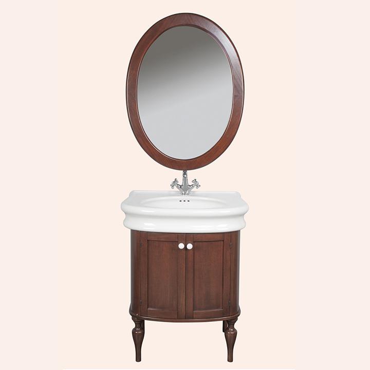 Palermo 7701 NoceМебель для ванной<br>Тумба под раковину TW Palermo 7701 с двумя распашными дверками и белыми керамическими ручками. Дополнительно можно приобрести раковину и зеркало. Цвет темный орех.<br>