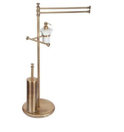 Harmony TWHA004cr БронзаАксессуары для ванной<br>Стойка напольная комбинированная TW Harmony TWHA004br. Двойной полотенцедержатель, керамический дозатор (белый), держатель туалетной бумаги, ёршик, цвет держателя: бронза.<br>