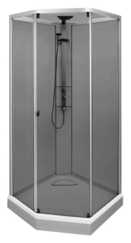 Душевая кабина Ido Showerama 8-5 100 4985113010 профиль серебристый, стекло тонированное, поддон белый с серебристой панелью