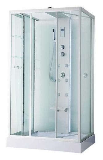 ER NYC120LW-2 Хром/стекло прозрачное с рисунком цветыДушевые кабины<br>Душевая кабина Erlit ER NYC120LW-2 с гидромассажем и низким поддоном высотой 15 см. Тропический душ, ручной душ, 6 трехрежимных форсунок для гидромассажа спины, хромотерапия, светодиодная подсветка стойки и крыши, датчик автоматического вкл./выкл. света, сенсорный пульт, FM-радио, Bluetooth, подключение к телефонной линии, система озонирования, вентилятор, полочка, крючок-вешалка, сиденье на усиленном каркасе, стеклянный шкаф-купе справа, двери открываются внутрь, ширина дверного проема – 95 см.<br>