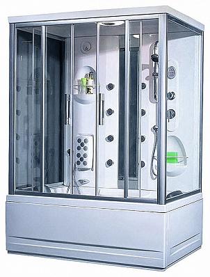 TS-150W БелаяДушевые боксы<br>Душевая кабина Appollo TS-150W гидромассажная. Прозрачное стекло, электронная панель управления, спинной массаж, массаж ног, подсветка, вентиляция, радио, зеркало, смеситель, верхний и ручной душ.<br>