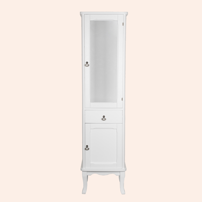 Sofia 4219 bi puro L белый матовыйМебель для ванной<br>Шкаф-колонна TW Sofia 4219 bi puro 3 DX. 1выдвижной ящик, 2 распашные дверки (лево), цвет белый матовый, 3 комплекта ручек: керамика (Sofia) и бронза (Ferrara,Victory).<br>