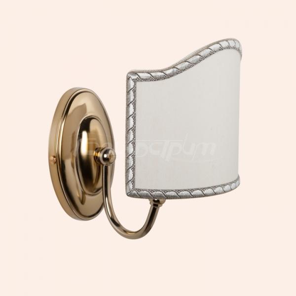 Barocco 1328  БронзаМебель для ванной<br>Бра полусфера с основанием с абажуром TW Barocco 1328br . Цвет бронза, абажур ткань светло-бежевый (комплект - 1 шт.).<br>