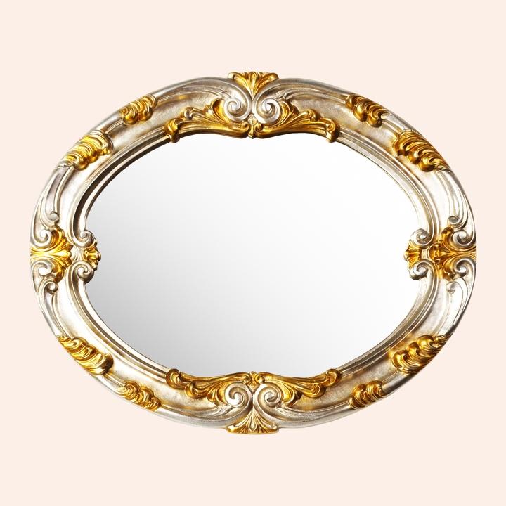 Barocco 337  серебро/золотоМебель для ванной<br>Зеркало TW Barocco 337 овальное. Рама дерево, цвет argento/oro (серебро/золото).<br>