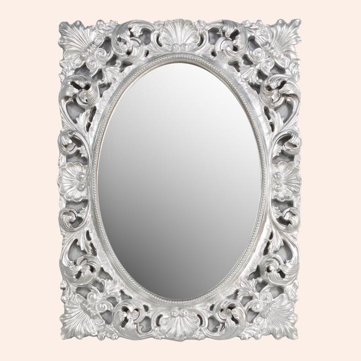 Barocco H871 Поталь сусальное сереброМебель для ванной<br>Зеркало TW Barocco H871 foglia argento. Рама дерево, отделка поталь сусальное серебро.<br>