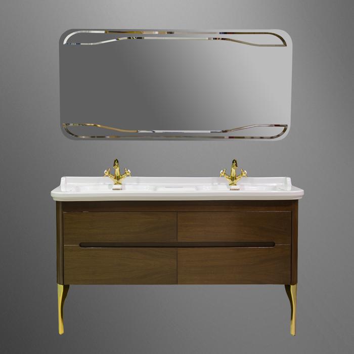 Waldorf  919146noce ОрехМебель для ванной<br>База подвесная под раковину Kerasan Waldorf  919146noce 150 см, с 2-мя ящиками и 2-мя дверцами, цвет орех.<br>