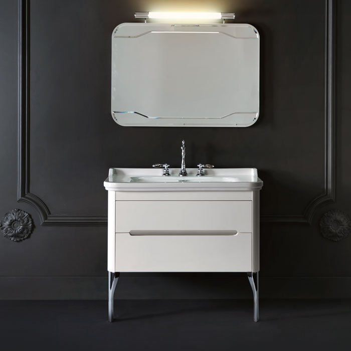 Waldorf  919230bi mat Белая матоваяМебель для ванной<br>Тумба под раковину Kerasan Waldorf 919230bi mat подвесная с 1 ящиком и 1 дверцей, цвет матовый белый. Раковина приобретается отдельно.<br>