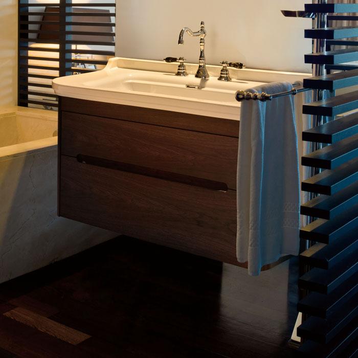 Waldorf  919246noce ОрехМебель для ванной<br>Тумба под раковину Kerasan Waldorf 919246noce подвесная  с 1 ящиком и 1 дверцей, цвет матовый белый.<br>