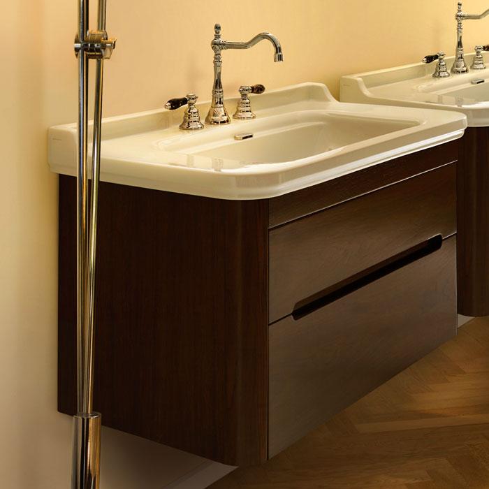 Waldorf  919346noce ОрехМебель для ванной<br>Тумба под раковину Kerasan Waldorf  919346noce  подвесная с 1 ящиком и 1 дверцей, цвет матовый белый. Раковина приобретается отдельно.<br>