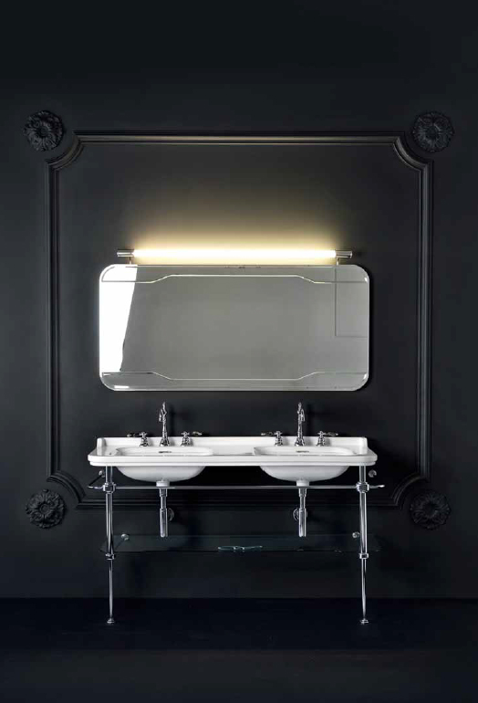 Waldorf  9195K1cr ХромМебель для ванной<br>Металлическая консоль  для раковины Kerasan Waldorf 9195K1cr, 150 см, со стеклянной полочкой.<br>