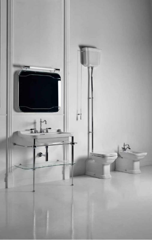 Waldorf  9196K1cr ХромМебель для ванной<br>Металлическая консоль  для раковины Kerasan Waldorf 9196K1cr, 100 см, со стеклянной полочкой. Раковина приобретается отдельно.<br>