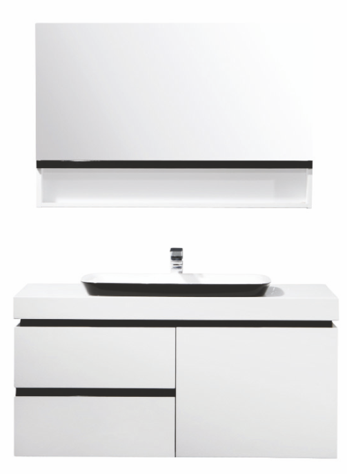 OLS-BC6019-1000  БелаяМебель для ванной<br>Материал:крашенный МДФ 18 мм, выдвижные ящики,с доводчиками DTC и одной распашной дверью,столешнаца из искусственного камня, цвет МДФ: белый глянец, раковина: искусственный камень, с выпуском Push Open, зеркальный шкаф: распашной ящик с дверцей,открывающейся вверх.<br>